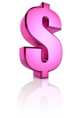 dollar symbol: Pink dollar currency symbol isolated on white background. 3d rendering