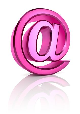 girlish: Pink email symbol isolated on white background. 3d rendering Stock Photo