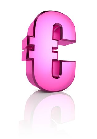 currency symbol: Pink euro currency symbol isolated on white background. 3d rendering