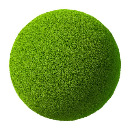 green grass: Green grass ball isolated on white background. 3d rendering Stock Photo