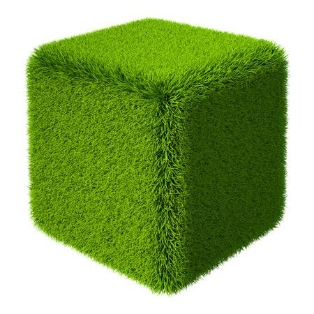 cubo: Cubo verde hierba aislado sobre fondo blanco. Representación 3D
