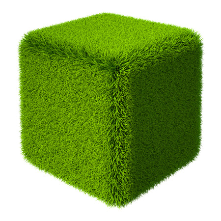 grass isolated: Green grass cube isolated on white background. 3d rendering