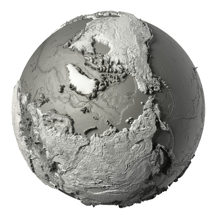Globe model with detailed topography without water europe 3d globe model with detailed topography without water north pole 3d rendering isolated on white publicscrutiny Choice Image