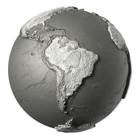 topografia: modelo de mundo, con topografía detallada sin agua. Sudamerica. Procesamiento de 3D aislada en el fondo blanco. Los elementos de esta imagen proporcionada por la NASA