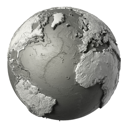 topografia: Globe model with detailed topography without water. Atlantic Ocean. 3d rendering isolated on white background. Foto de archivo