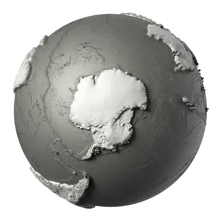 Globe model with detailed topography without water south america globe model with detailed topography without water antarctica 3d rendering isolated on white background publicscrutiny Choice Image