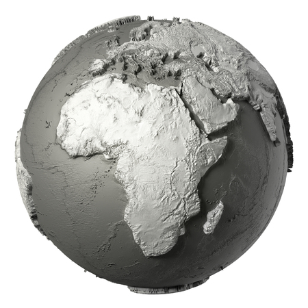 topografia: Globe model with detailed topography without water. Africa. 3d rendering isolated on white background. Elements of this image furnished by NASA Foto de archivo
