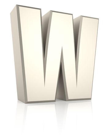 ecru: Letter W isolated on white background. 3d render