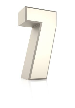 ecru: Number 7 isolated on white background. 3d render