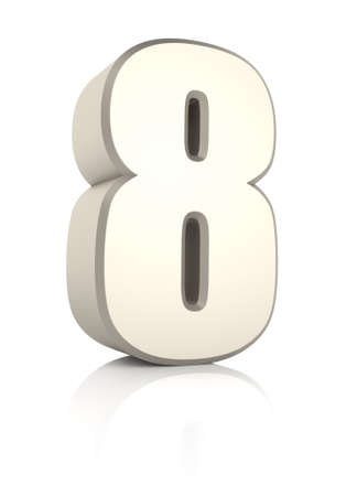 Number 8 isolated on white background. 3d render