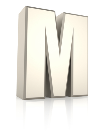ecru: Letter M isolated on white background. 3d render Stock Photo