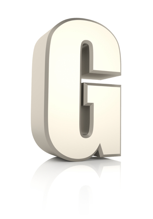 ecru: Letter G isolated on white background. 3d render Stock Photo