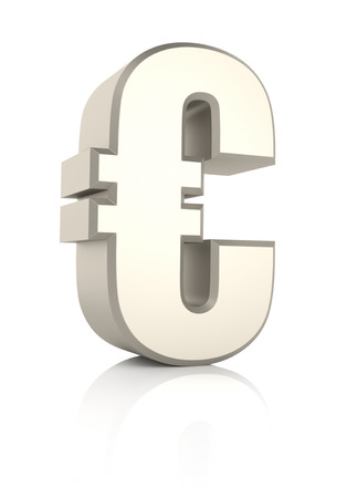 chrome: Euro sign isolated on white background. 3d render Stock Photo