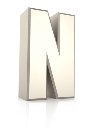 ecru: Letter N isolated on white background. 3d render