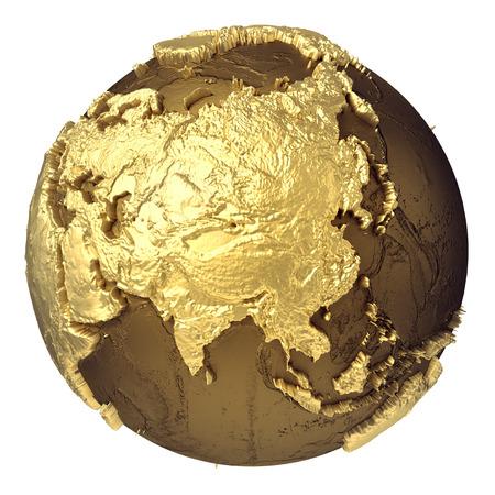 Modelo de globo dorado sin agua. Asia. Representación 3d aislada en el fondo blanco. Elementos Foto de archivo - 91050310