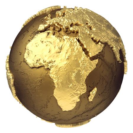 Modello globo d'oro senza acqua. Africa. Rappresentazione 3d isolata su fondo bianco.
