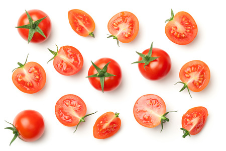 Cherry tomatoes isolated on white background. Top view