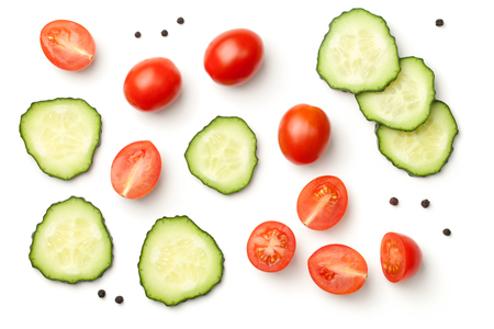 Red pepper cherry tomatoes with cucumber and peppercorn isolated on white background. Top view