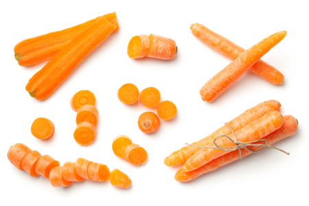 Baby, mini carrots isolated on white background. To view