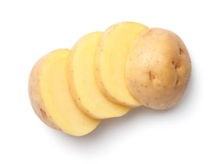 白い背景に分離されたジャガイモ。トップ ビュー 写真素材