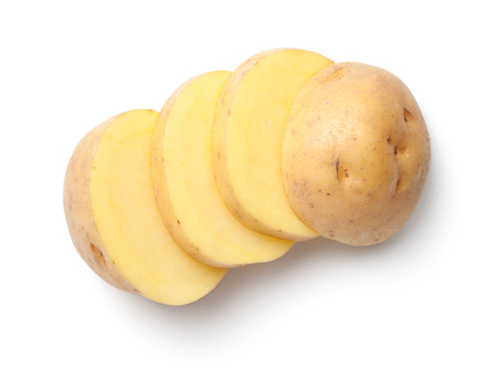 Potato isolated on white background. Top view 스톡 콘텐츠