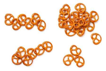 Pretzels isolated on white background. Flat lay. Top view
