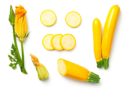 Yellow zucchini with leaf and flower isolated on white background Top view 스톡 콘텐츠