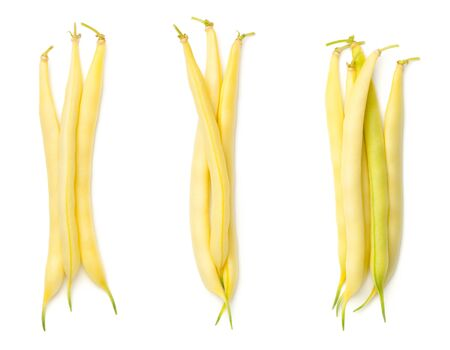 Yellow beans isolated on white background. String bean. Top view, flat lay