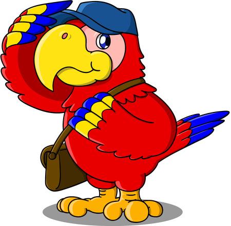 Cute cartoon of parrot  mailman.