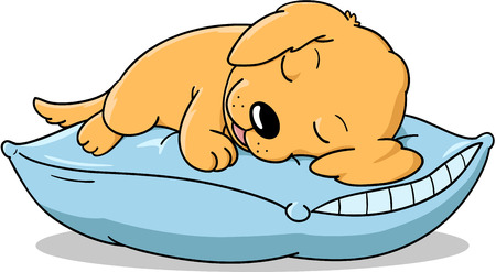 Cute sleeping puppy cartoon. Vectores