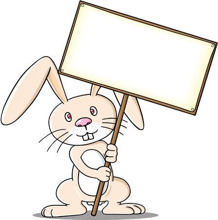 Rabiit holding sign 免版税图像 - 33880749