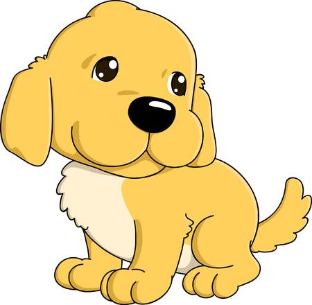 Cute cartoon of golden retriever puppy.