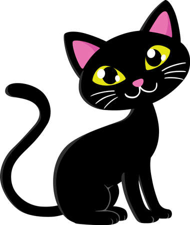 An image of cute black cat sitting.
