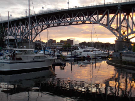 Sunset and docked boats by Granville Bridge photo