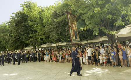 lament: CORFU, GREECE - AUGUST, 12, 2016: Clerics and philharmonic musicians in the customary lament procession on the Saint Spyridon celebration , at the old town of Corfu. Editorial