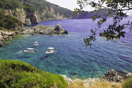 unspoilt: CORFU, GREECE - AUGUST 28, 2016: Paleokastritsa bay view Editorial