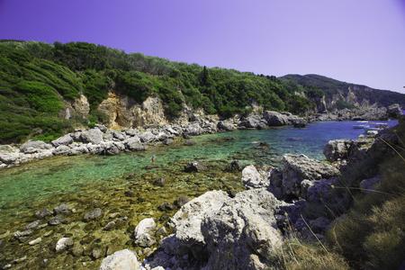 paleokastritsa: CORFU, GREECE - AUGUST 28, 2016: Paleokastritsa bay view Editorial