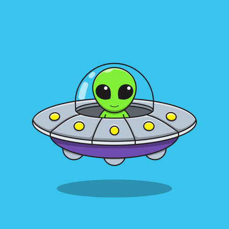Illustration vector graphic of alien cartoon is driving a flying saucer.