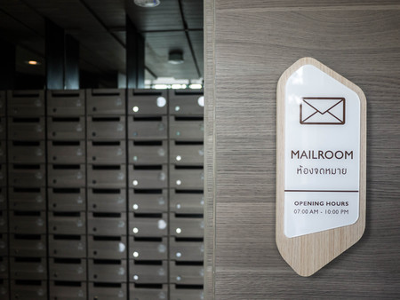 letter in mailbox, mailroom Stock Photo
