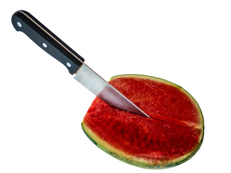 cut watermelon by knife on the white background Stock Photo