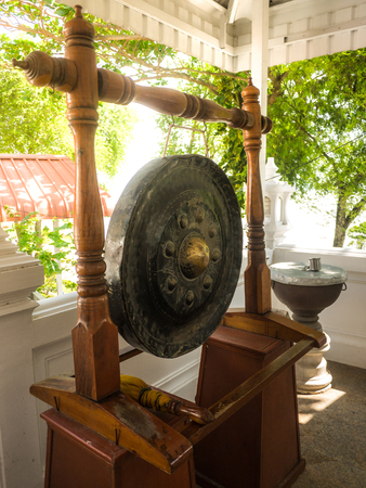 gong: Thai native Gong. Ancient gong in Thailand Stock Photo