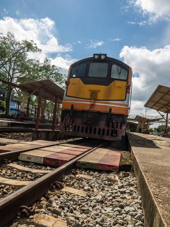 old locomotive train on railway in thailand