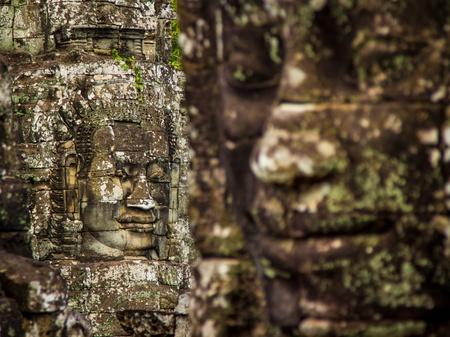 Stone Faces in Temple 版權商用圖片
