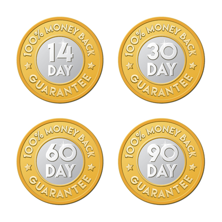 14: 14, 30, 60, 90 money back guarantee labels. signs in the form of golden coin.