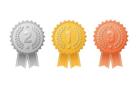 Goud, zilver, bronzen award badges met kleur lintjes set. Metalen medaille trofee zeehonden voor winnaars van de 1e, 2e en 3e plaats.