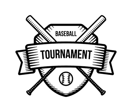 Baseball vector logo. Summer team sport tournament. Black and white badge, shirt mascot design.