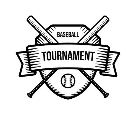 tourney: Baseball vector logo. Summer team sport tournament. Black and white badge, shirt mascot design.