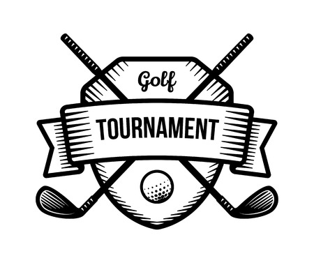 Golf vector logo. Summer individual sport tournament. Black and white badge, shirt mascot design.  イラスト・ベクター素材