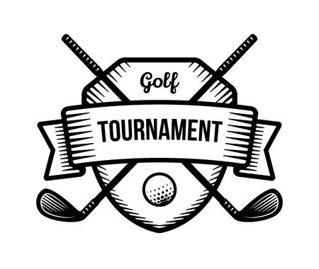 tourney: Golf vector logo. Summer individual sport tournament. Black and white badge, shirt mascot design. Illustration