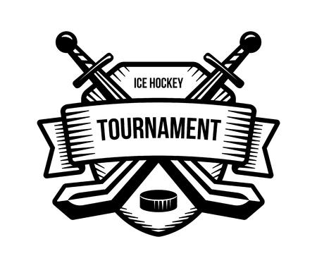 tourney: Ice hockey vector logo. Winter team sport tournament. Knight, pirate, buccaneer, warrior sword mascot. Black and white badge, shirt design.